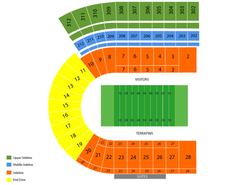 Towson Tigers at Maryland Terrapins Football Venue Map