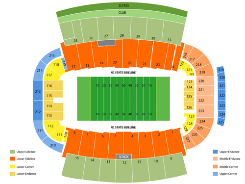 Syracuse Orange at North Carolina State Wolfpack Football Venue Map