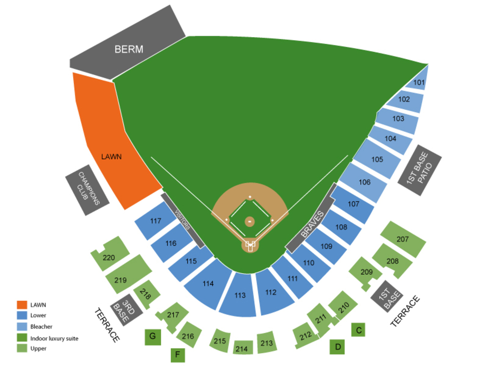 Spring Training: Philadelphia Phillies at Atlanta Braves Venue Map