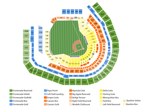 Arizona Diamondbacks at New York Mets Venue Map