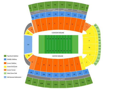 Georgia Tech Yellow Jackets at Clemson Tigers Football Venue Map