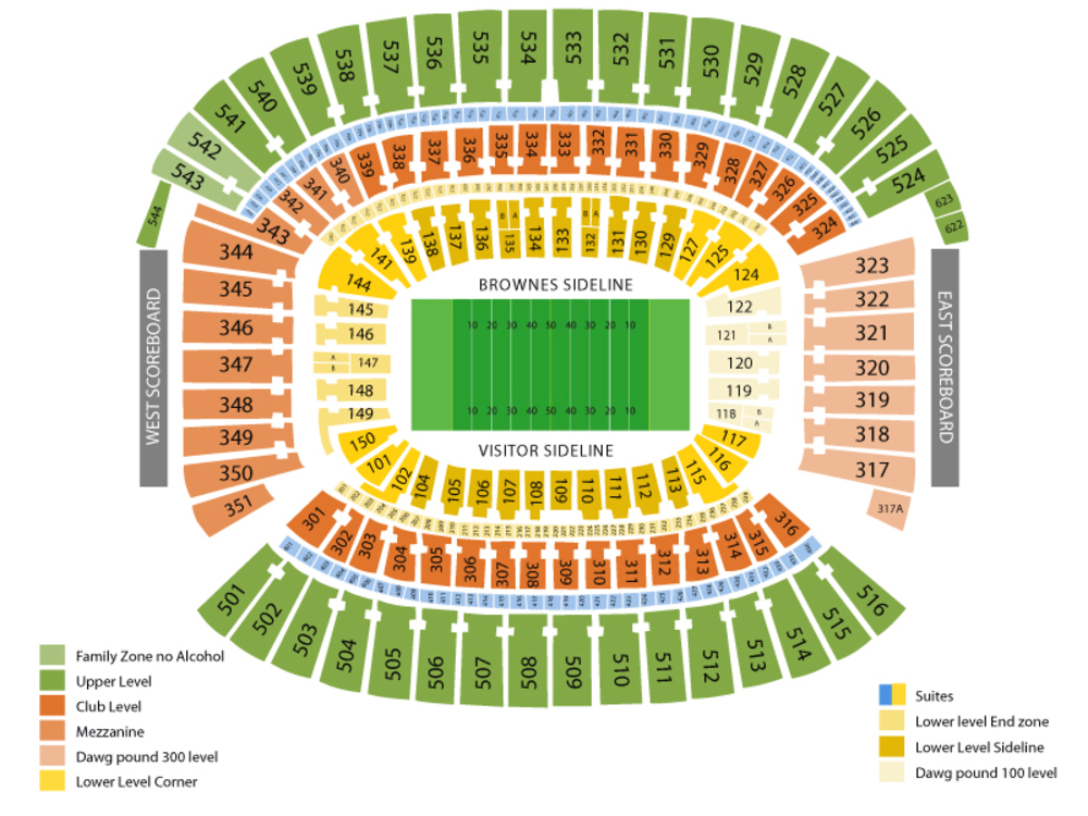 Tennessee Titans at Cleveland Browns Venue Map