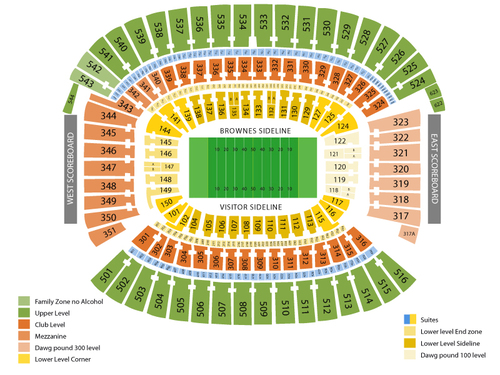 Miami Dolphins at Cleveland Browns Venue Map