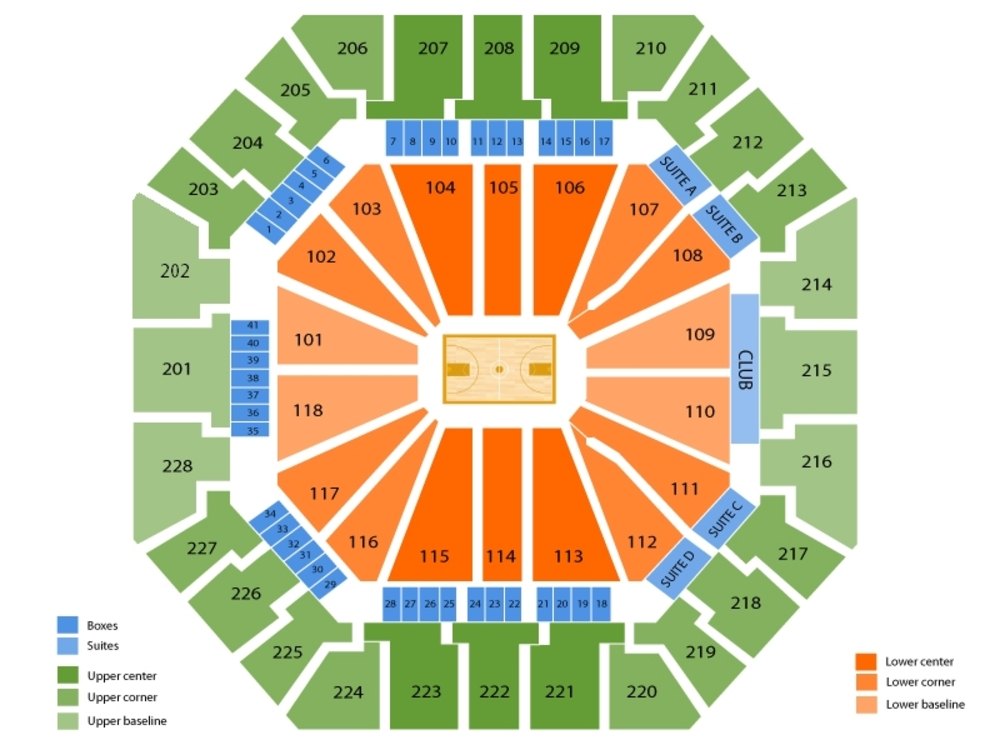 Clemson Tigers at South Carolina Gamecocks Basketball Venue Map