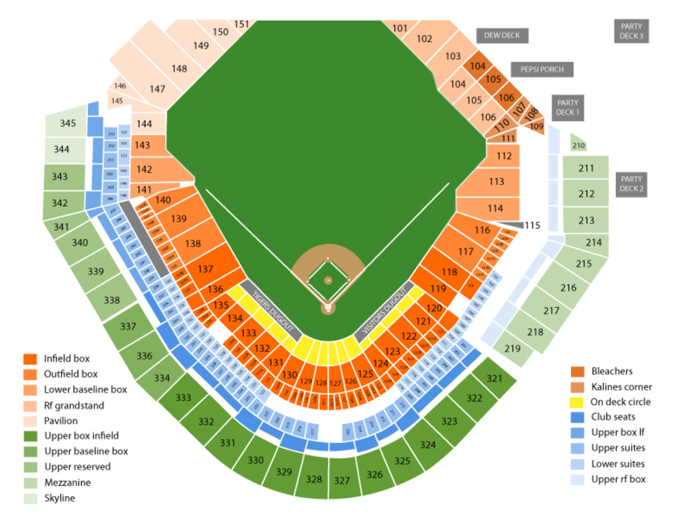 New York Yankees at Detroit Tigers Venue Map