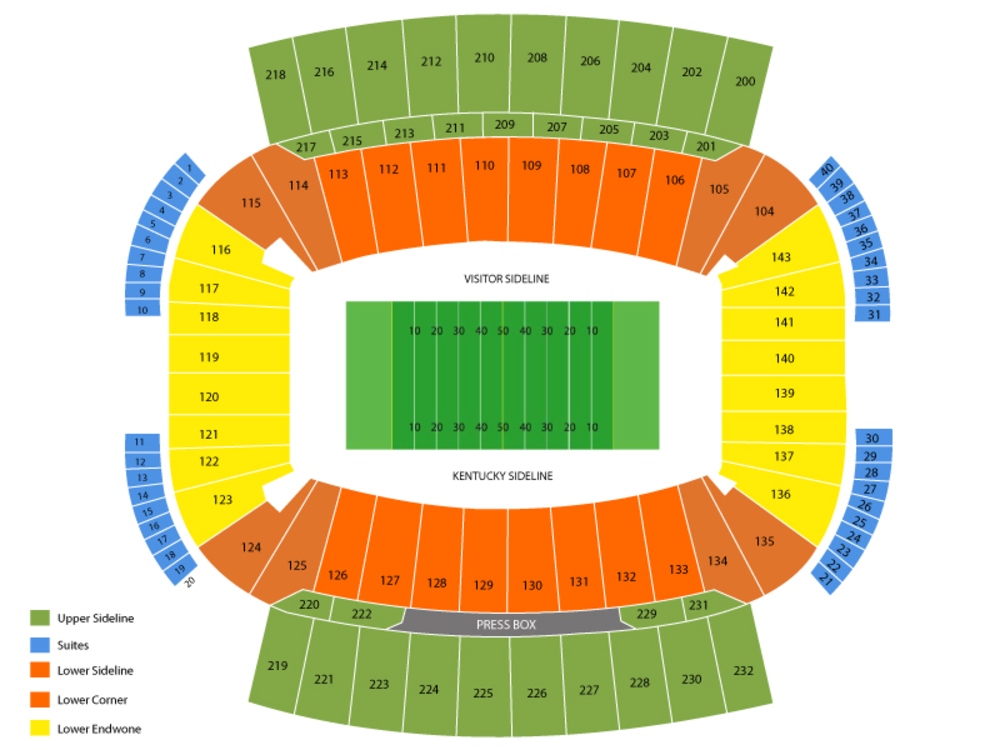 Middle Tennessee State Blue Raiders at Kentucky Wildcats Football Venue Map