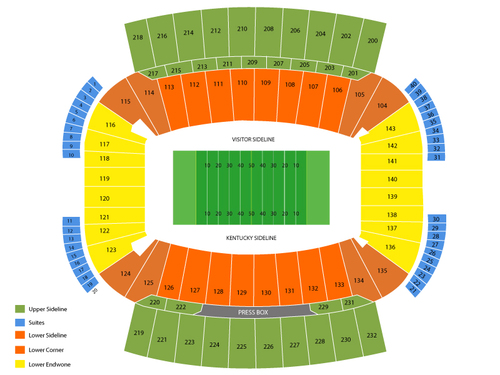 Louisville Cardinals at Kentucky Wildcats Football Venue Map