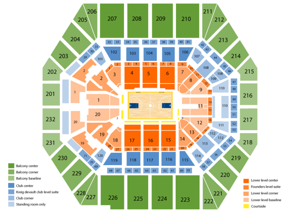 Oklahoma City Thunder at Indiana Pacers Venue Map