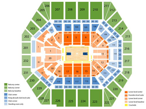 New Orleans Pelicans at Indiana Pacers Venue Map
