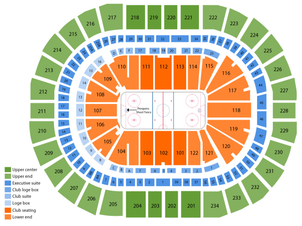Columbus Blue Jackets at Pittsburgh Penguins Venue Map
