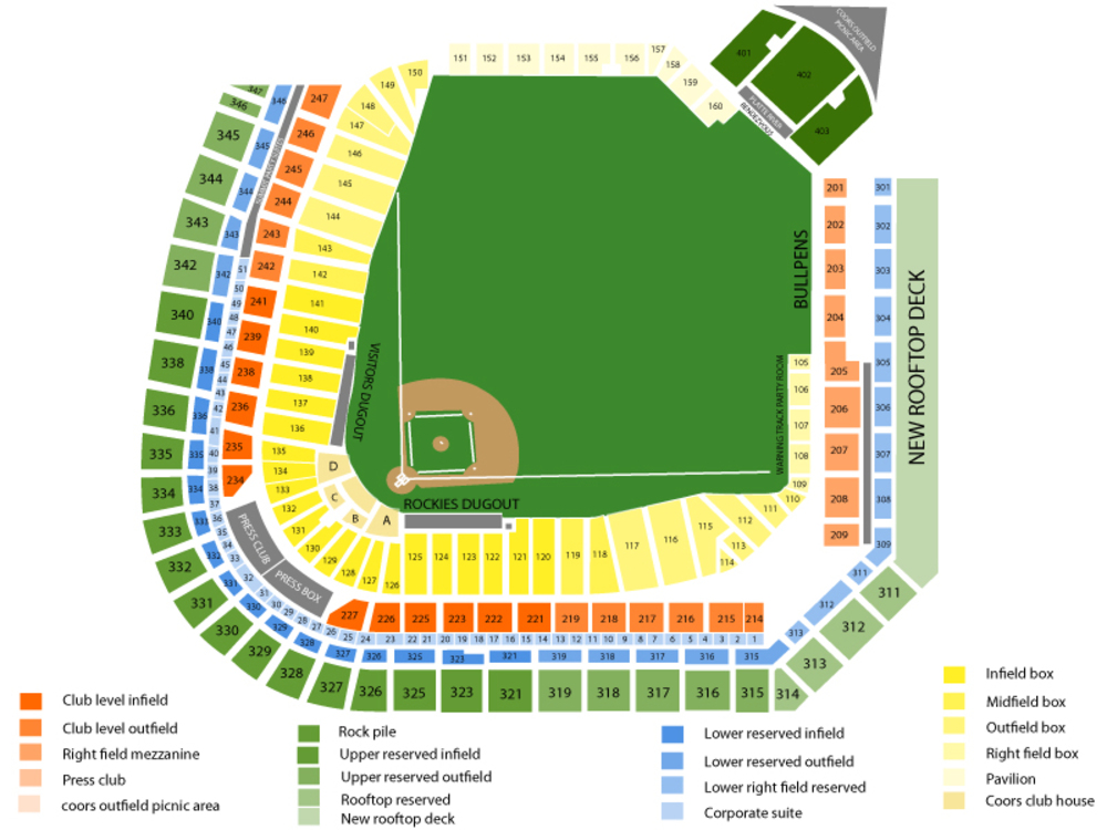 Texas Rangers at Colorado Rockies Venue Map