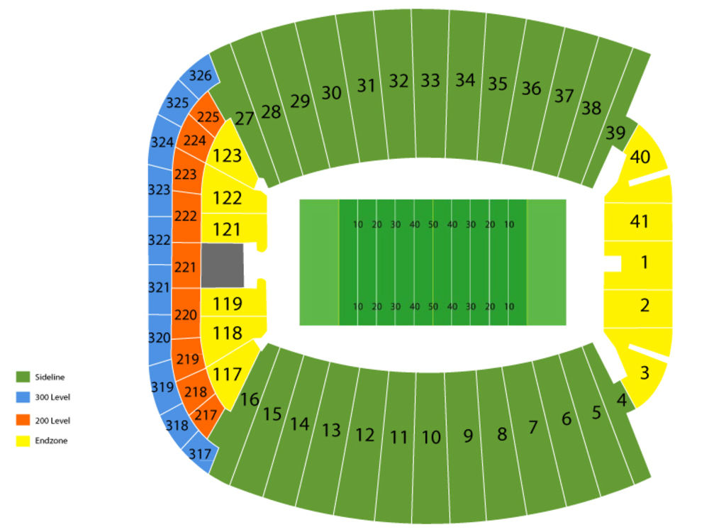 Seating Chart for Football Seating Chart at Doak Campbell Stadium