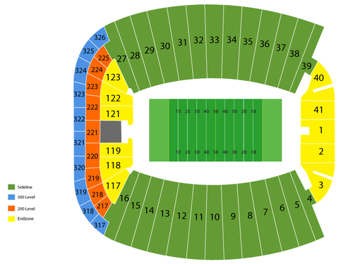 Nevada Wolf Pack at Florida State Seminoles Football Venue Map