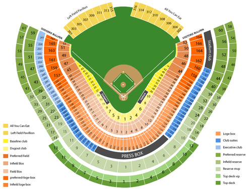 Cincinnati Reds at Los Angeles Dodgers Venue Map