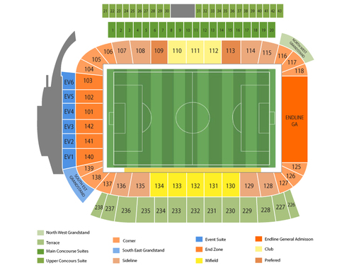 Columbus Crew at Los Angeles Galaxy Venue Map