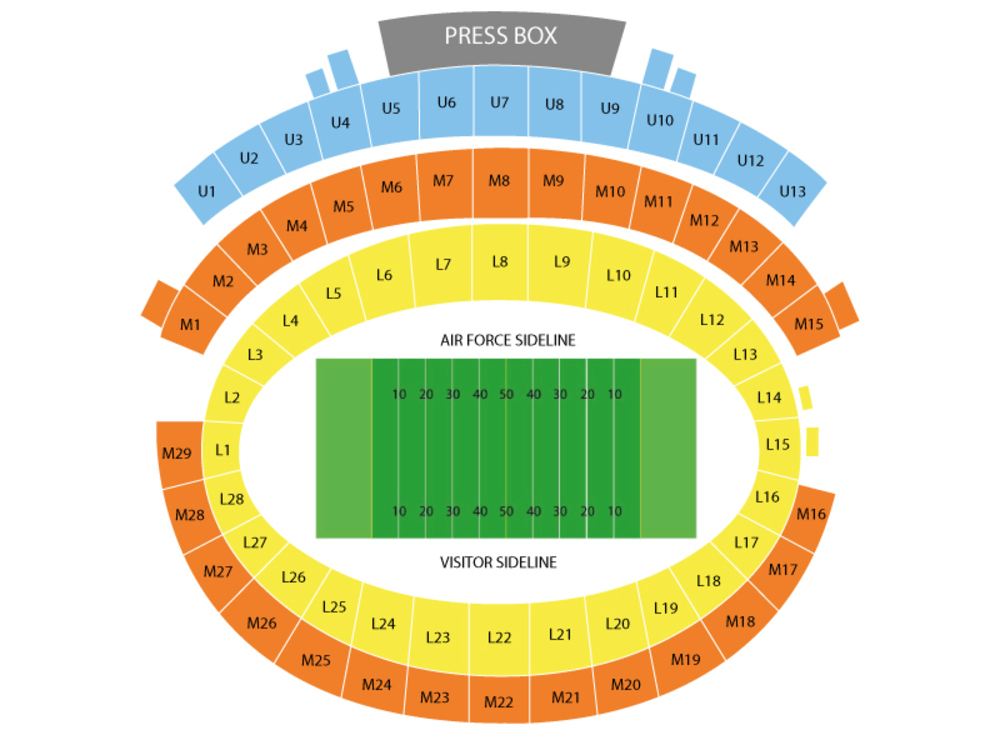 San Jose State Spartans at Air Force Falcons Football Venue Map