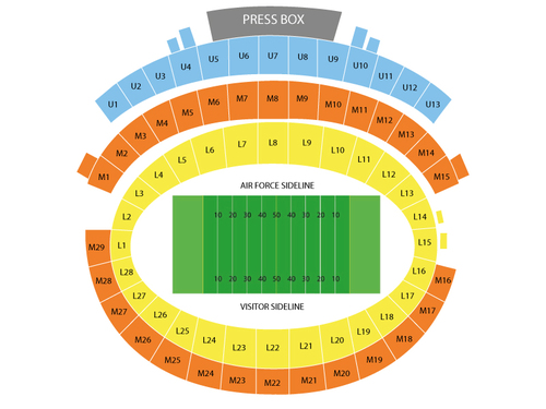 Notre Dame Fighting Irish at Air Force Falcons Football Venue Map