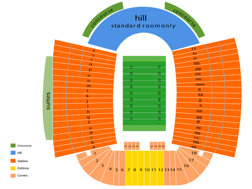 Tennessee Volunteers at Missouri Tigers Football Venue Map