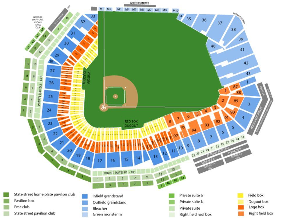Oakland Athletics at Boston Red Sox Venue Map