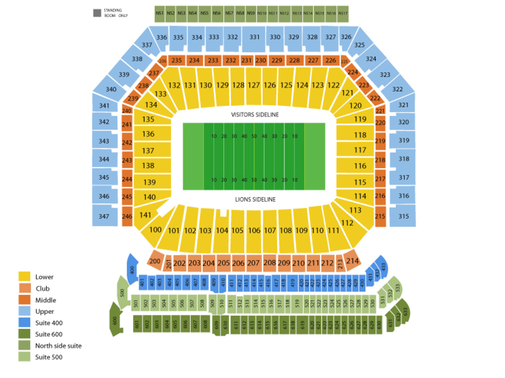 Green Bay Packers at Detroit Lions Venue Map