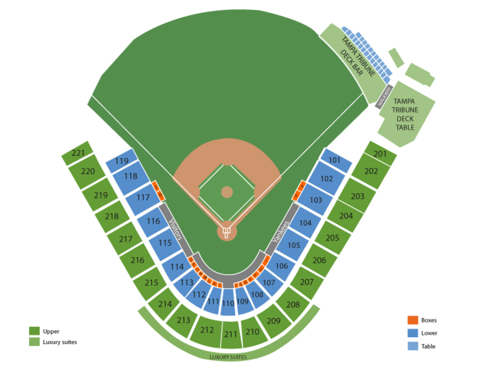 Spring Training: Tampa Bay Rays at New York Yankees Venue Map