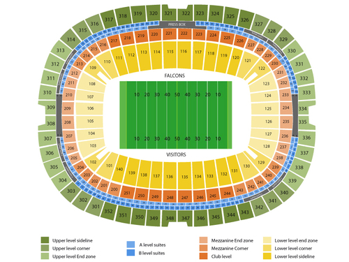 Washington Redskins at Atlanta Falcons Venue Map