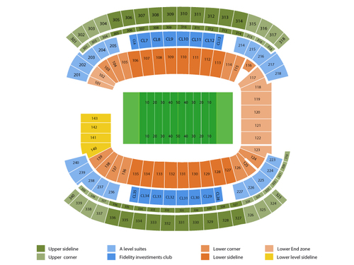 Green Bay Packers at New England Patriots Venue Map