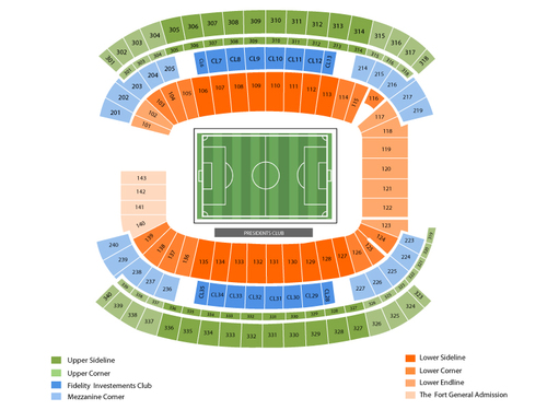 Columbus Crew at New England Revolution Venue Map