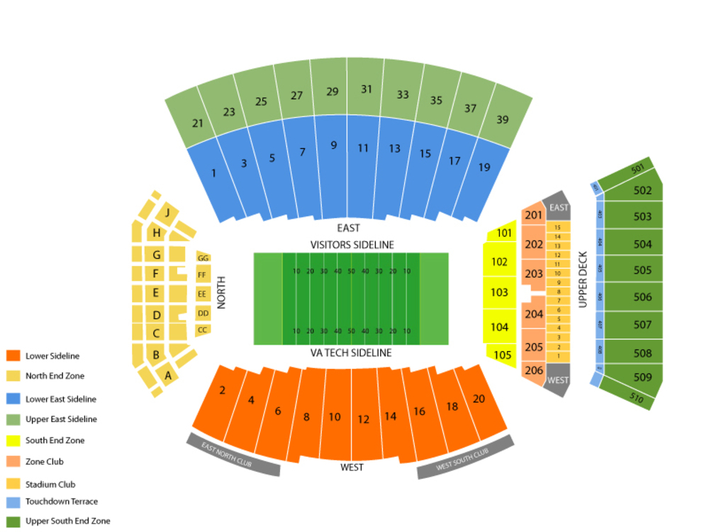 Seating Chart for Football Seating Chart at Lane Stadium