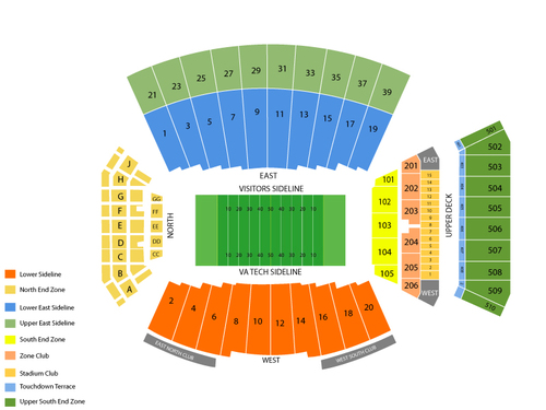 North Carolina Tar Heels at Virginia Tech Hokies Football Venue Map