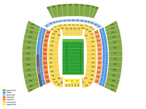 Notre Dame Fighting Irish at Pittsburgh Panthers Football Venue Map