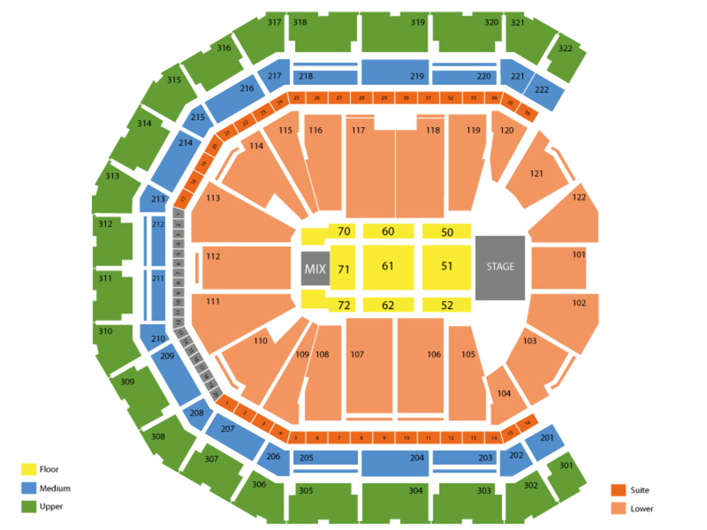 Garth Brooks with Trisha Yearwood Venue Map