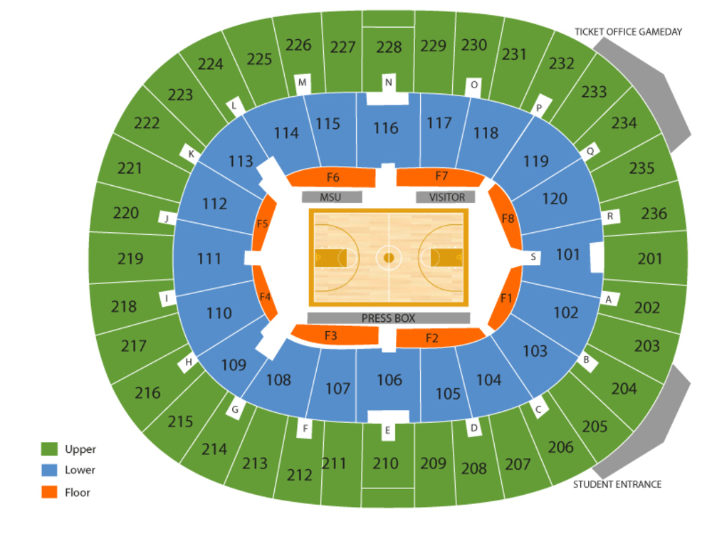 North Florida Ospreys at Mississippi State Bulldogs Basketball Venue Map