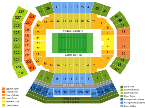 Georgia Southern Eagles at Florida Gators Football Venue Map