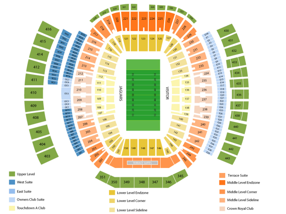 Preseason: New Orleans Saints at Jacksonville Jaguars Venue Map
