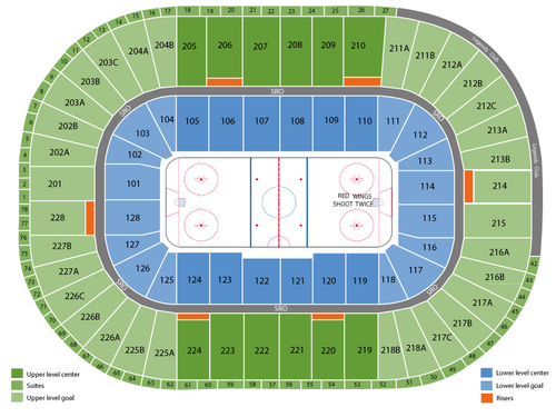 Vancouver Canucks at Detroit Red Wings Venue Map