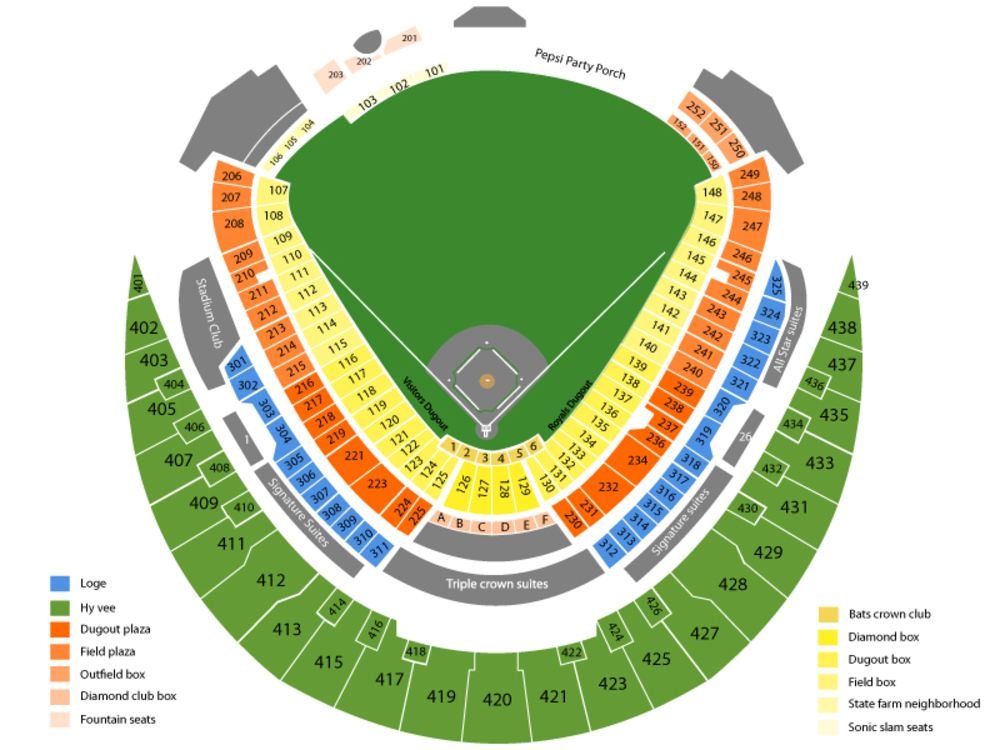 Seating Chart for Baseball Seating Chart at Kauffman Stadium
