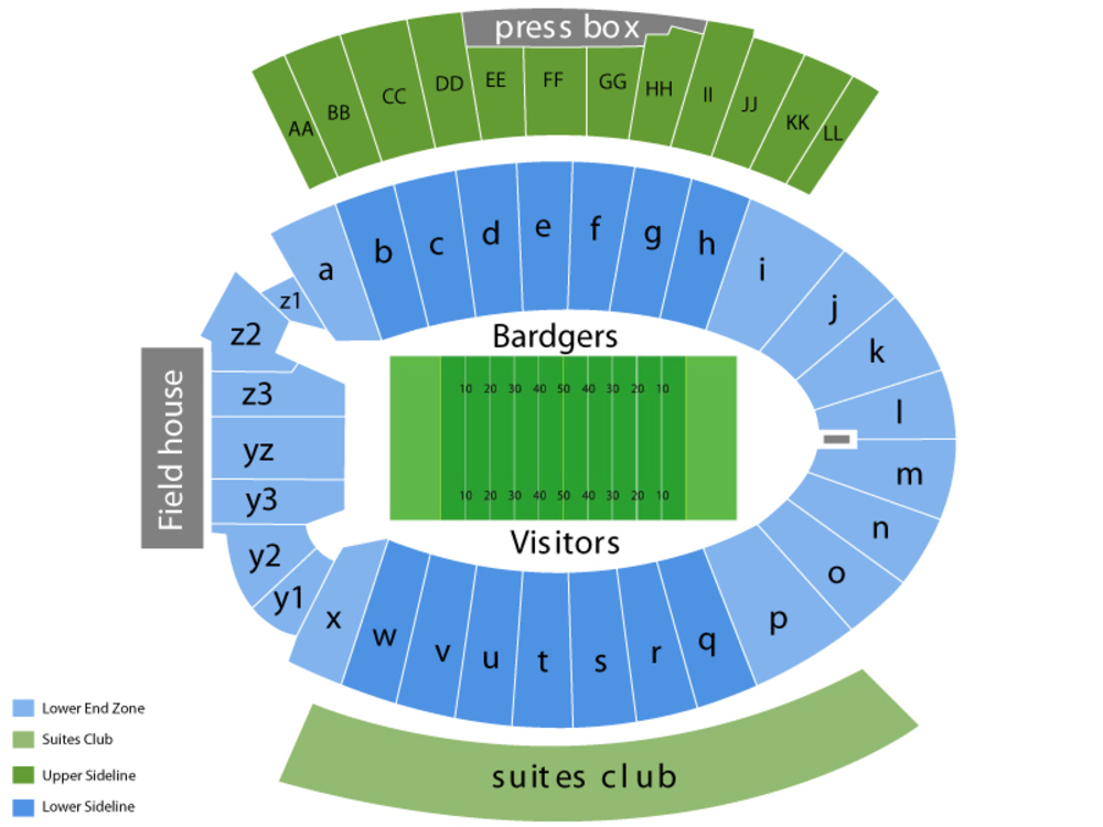 Utah State Aggies at Wisconsin Badgers Football Venue Map