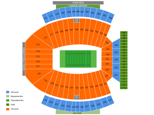 Virginia Cavaliers at North Carolina Tar Heels Football Venue Map