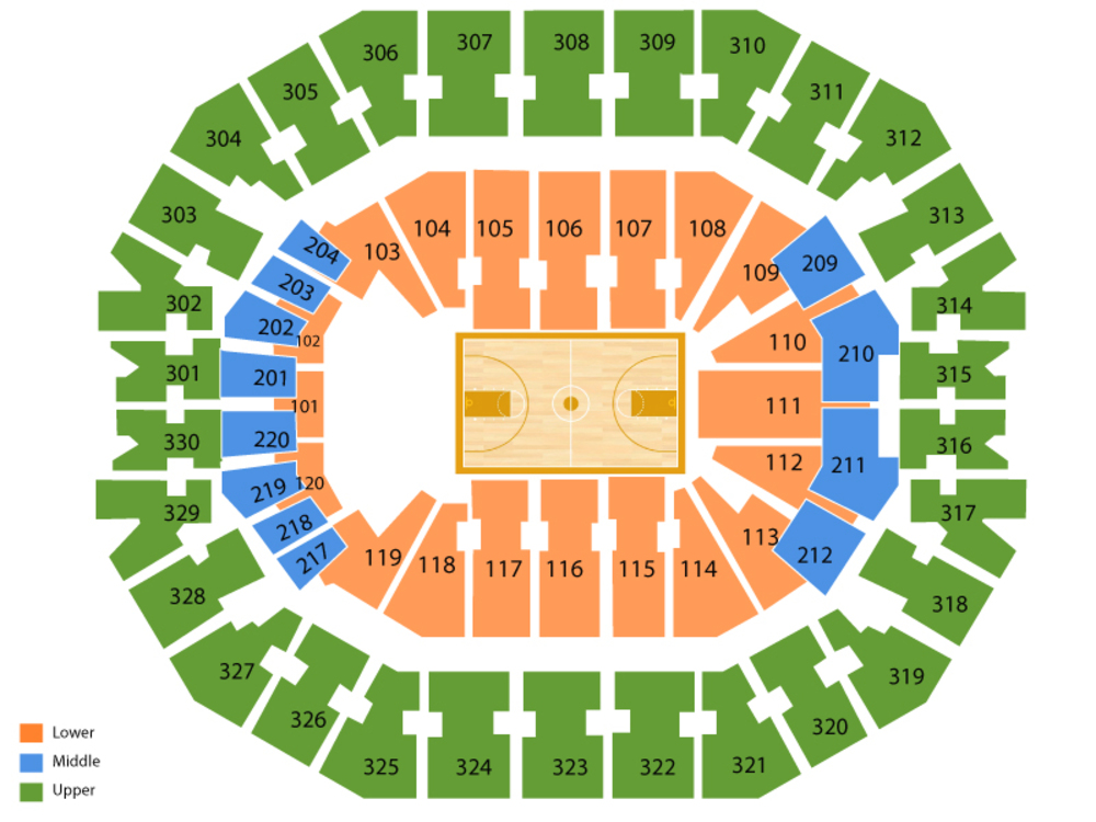KFC Yum! Center seating map and tickets
