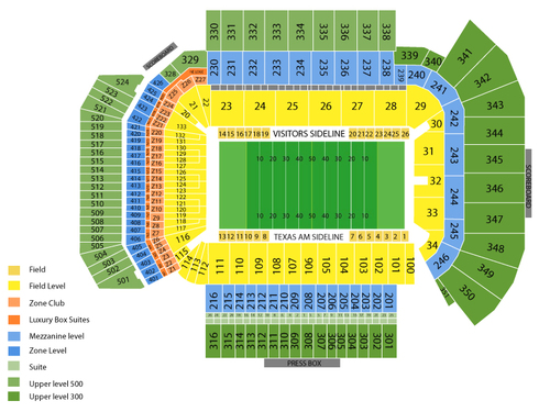 Clemson Tigers at Texas A&M Aggies Football Venue Map