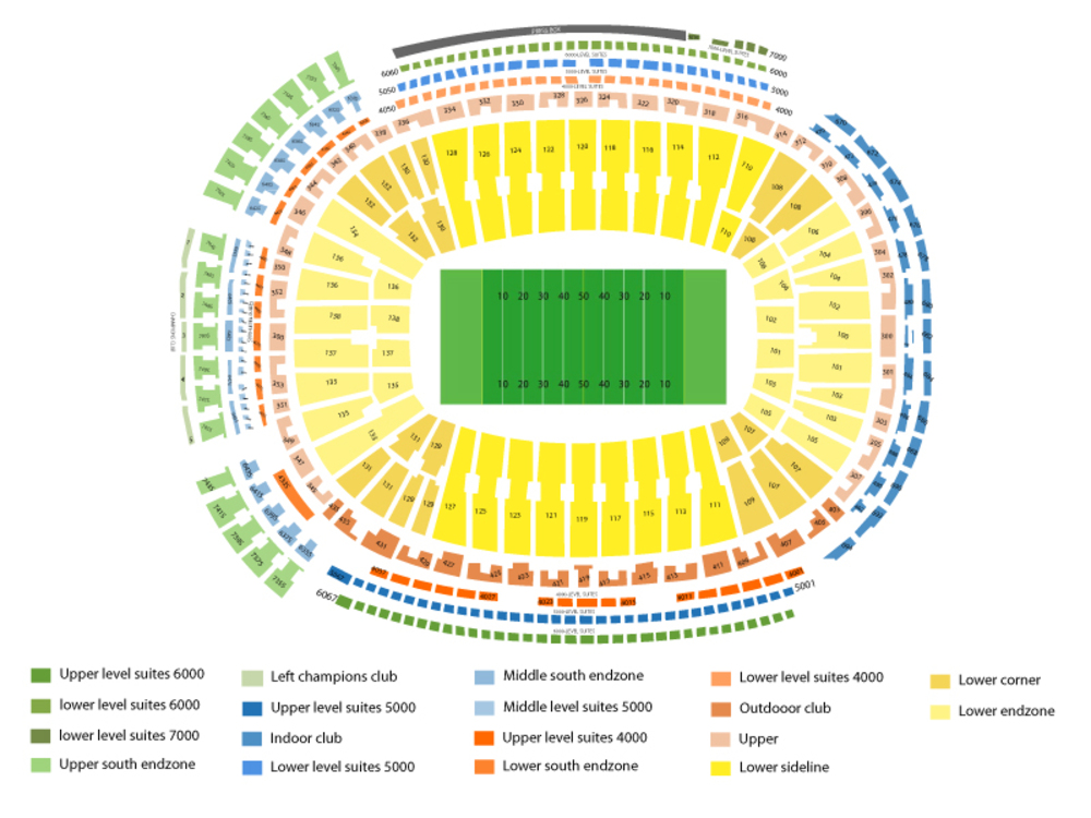 Lambeau Field seating map and tickets