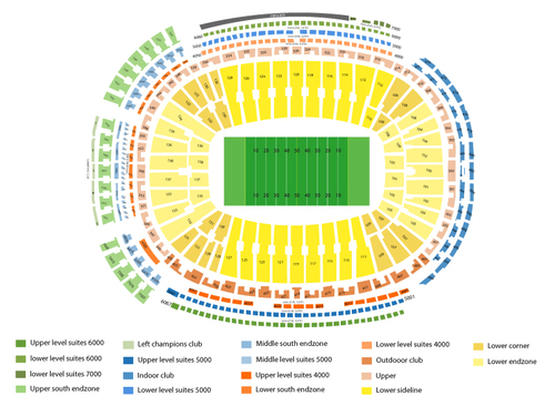 Centurylink Seating Chart with Rows and Seat Numbers