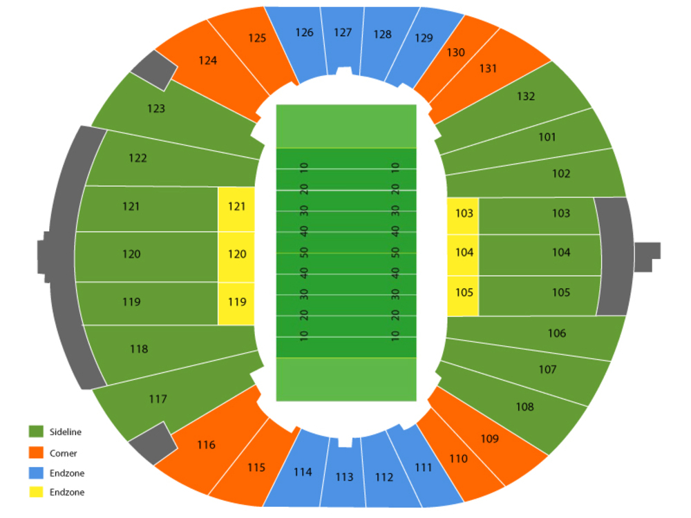 SMU Mustangs at Memphis Tigers Football Venue Map