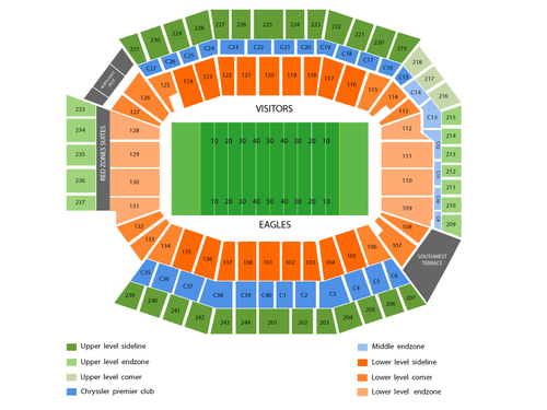 Detroit Lions at Philadelphia Eagles Venue Map