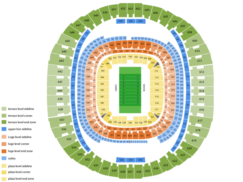 Atlanta Falcons at New Orleans Saints Venue Map