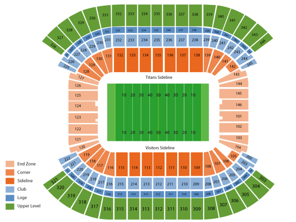 NFL Preseason: Carolina Panthers at Tennessee Titans Venue Map