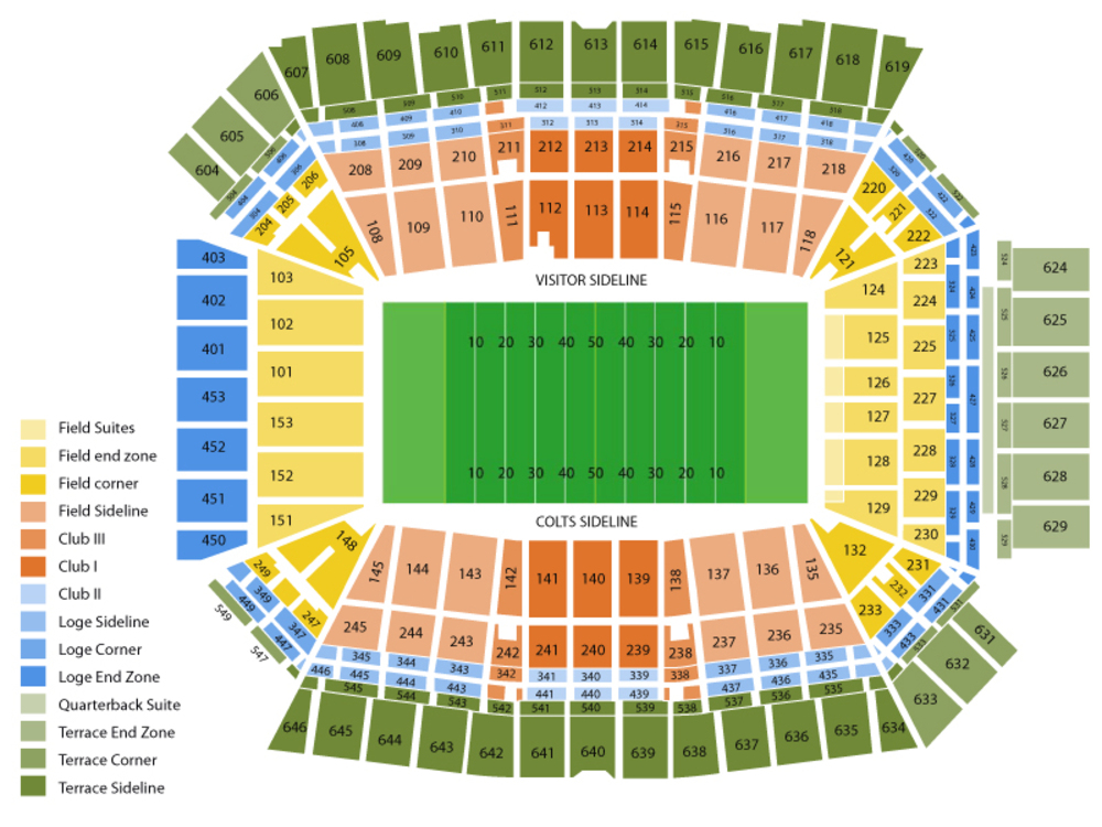 Miami Dolphins at Indianapolis Colts Venue Map