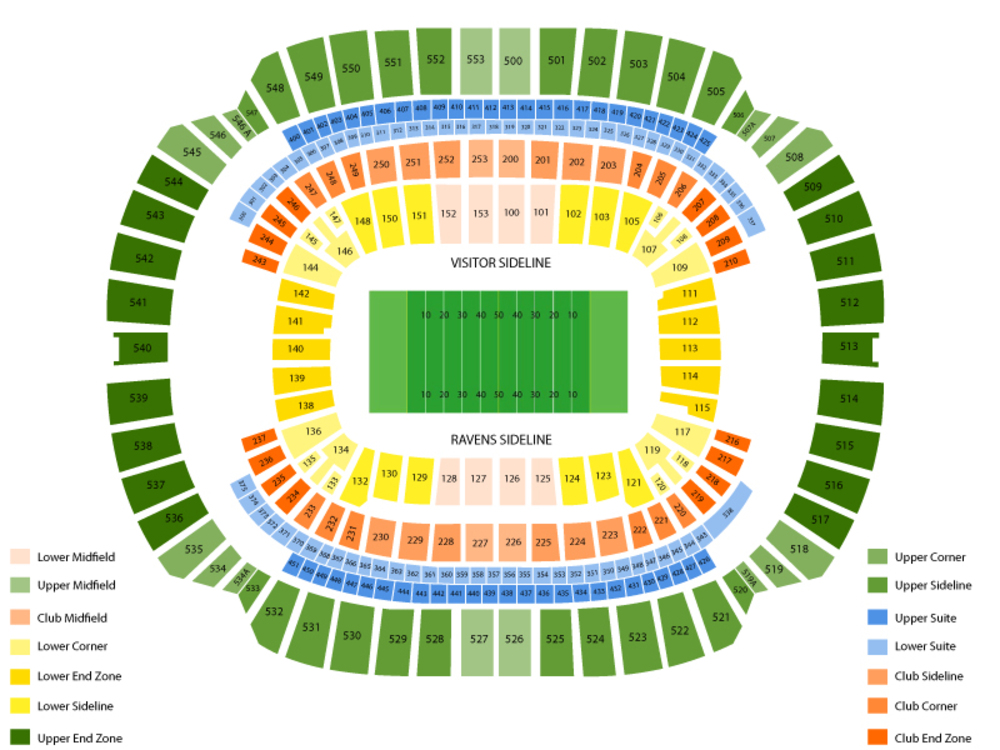 Tampa Bay Buccaneers at Baltimore Ravens Venue Map