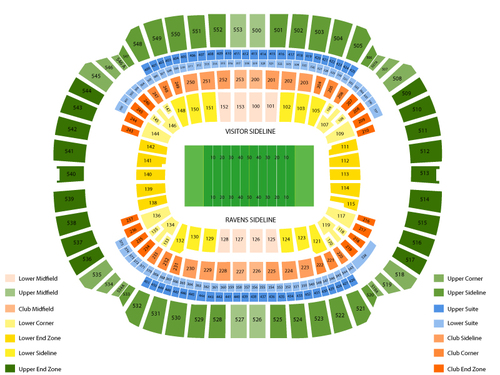 New England Patriots at Baltimore Ravens Venue Map